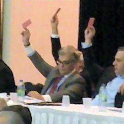Ο Πρόεδρος της Ελληνικής Κοινότητας Μείζονος Μοντρεαλ, κ. Νίκος Παγώνης στη Γενική Συνέλευση.